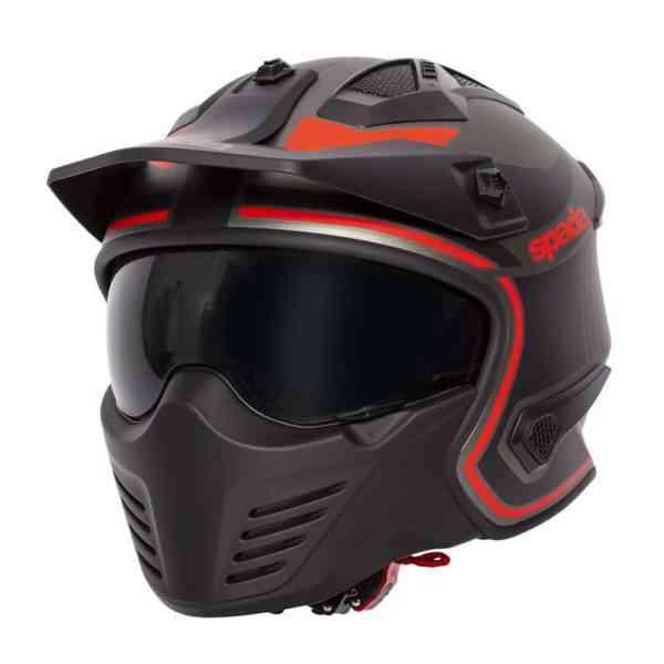 Spada Helmet Storm Titan Black/Red Flip Up Helmet